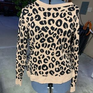 NWOT Leopard Print Cardigan Pullover Sweater